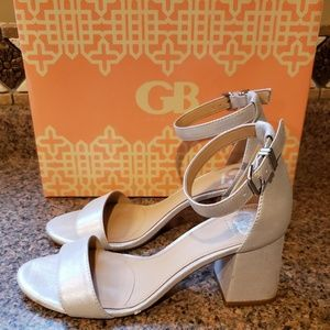Gianni Bini Ankle-Strap Silver Med Heeled Sandals
